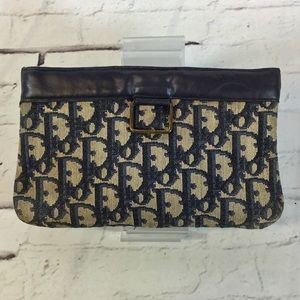 AUTHENTIC Vintage Christian Dior Monogram Pouch Clutch Makeup Bag Navy AS-IS